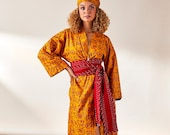 House of Harlow Collab 1960, Classic Robe with Hand Stiched Brick Kantha Belt, Yellow Floral Print, 100% Cotton