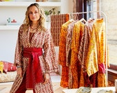 House of Harlow 1960 Collab, Classic Robe with Hand Stitched Brick Kantha Red Belt, Red Coral Leaf Print, 100% Cotton