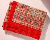 House of Harlow 1960 Collab, Hand Stitched Cotton Kantha Quilt, Accent Throw Blanket, Orange and Red Classic Indian Print