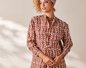 House of Harlow 1960 Collab, Pajama Shirt, Tunic Dress, Yellow Floral or Red Coral Leaf, 100% Cotton