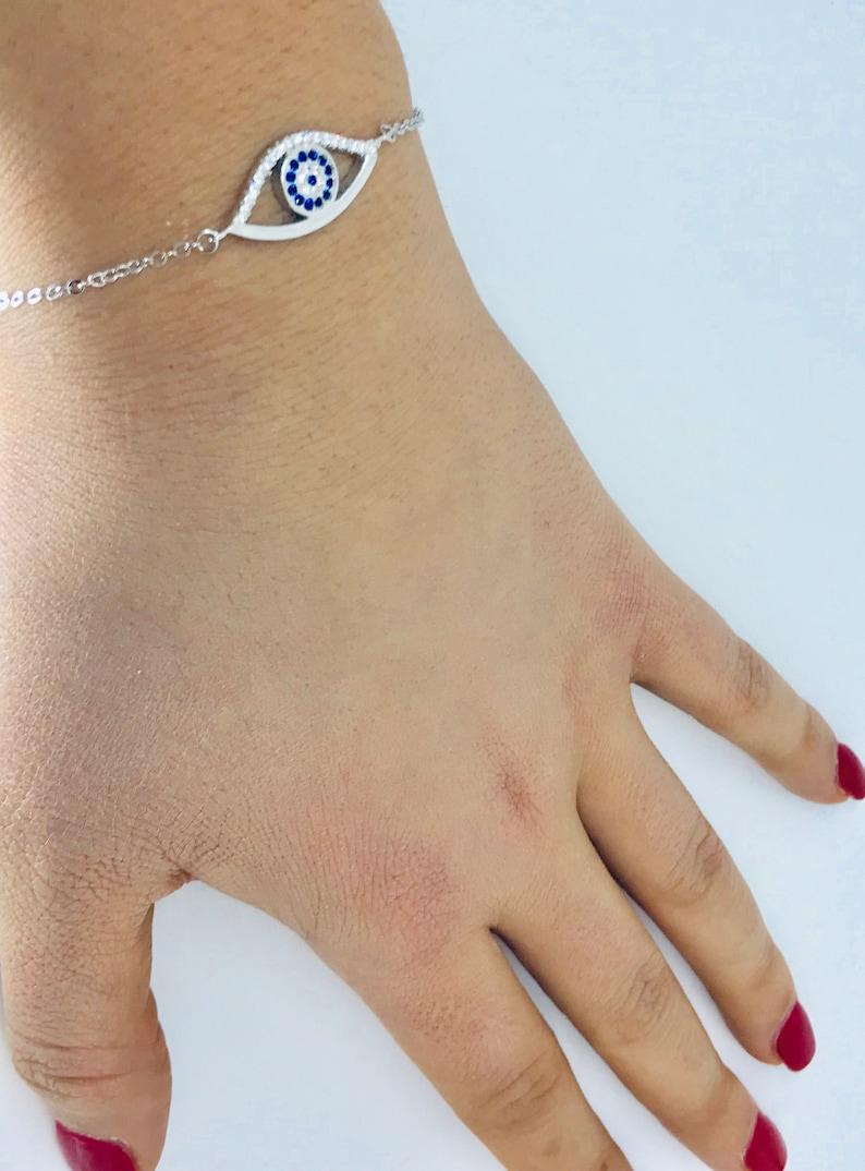 Dainty Evil Eye Bracelet for Women Unique Evil Eye Gifts Sparkly Evil Eye Bracelet Greece White and Blue Zircon Evil Eye Bracelet Silver