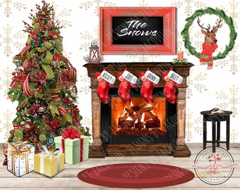 Christmas Holiday Winter Party Decoration Prop Crackling Fireplace Wall Mural