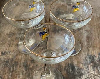 Set of 2 Vintage Babycham Style Glass 1920s Classic Champagne Saucer//Coupe-