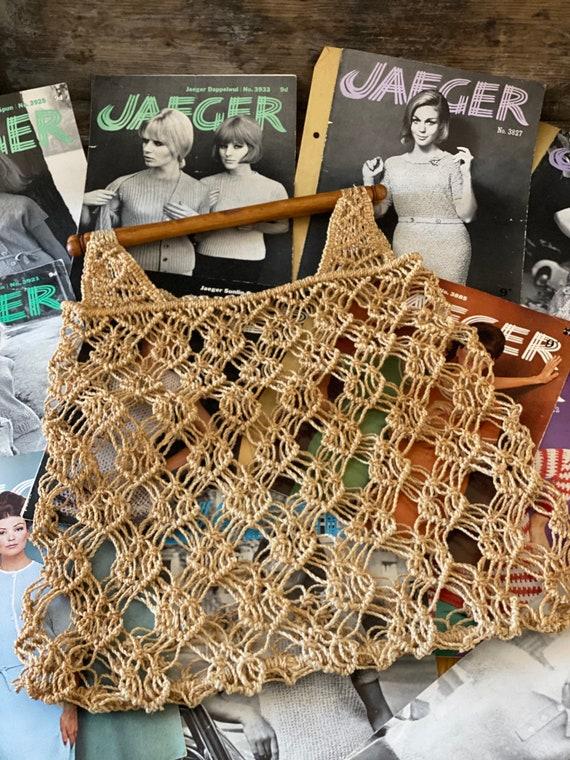 Vintage 1970's Macrame Tote Bag