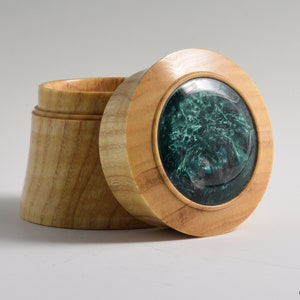 Turned Redheart Ring Box with Offset Yellow Burl Inlay