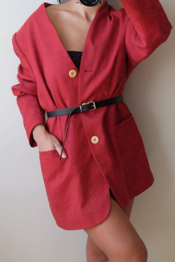 Vintage wool linen blazer,Oversized wool blazer, L