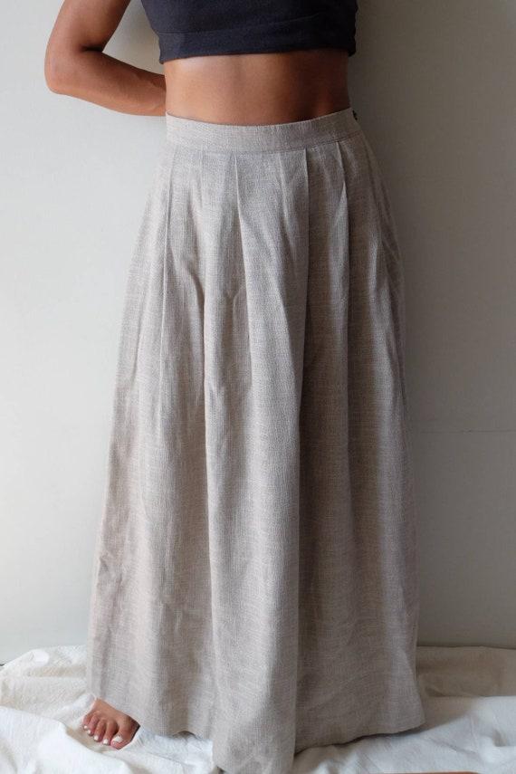 Vintage linen long autumn skirt, Natural linen ski