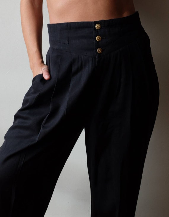 1980s vintage high waisted trousers, High waisted