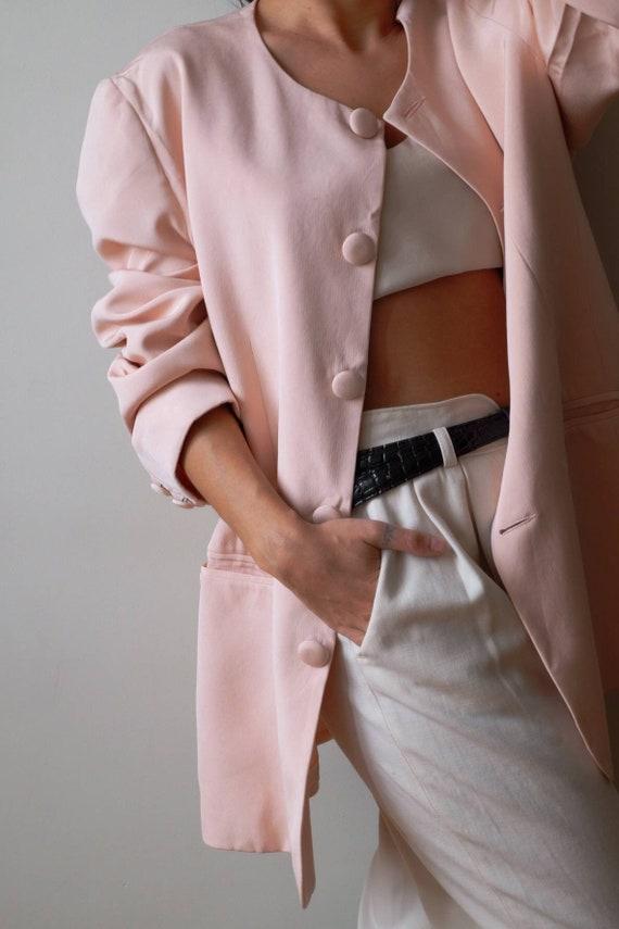 Vintage silk coat blazer, vintage long pink rose b
