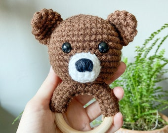 Bear Baby Rattle, Crochet Bear Rattle