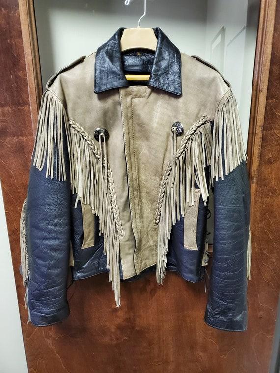 Vintage Hot Leathers Fringed Leather Motorcycle Ja