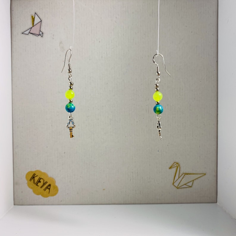 Set bracelet and earrings peps yellow blue-green and silver