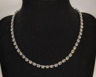 Vintage rhinestone necklace on silver tone metal, vintage necklace, rhinestone necklace, vintage jewellery