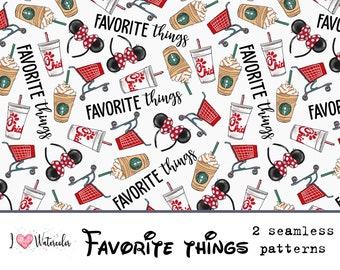 Favorite things,Magic Kingdom,Paper,Seamless,Digital,Background,Design,Watercolor,Clipart,Printable,Print,Pattern