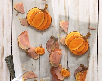 Small LEAF PILE Fall Leaves 7x3x2 Cello Treat Goodie Snack Bags Free Shipping!