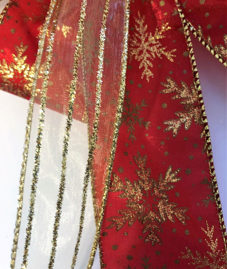 Gold Christmas Bow Christmas Tree Topper Red XMAS Tree Bow Red Gold Tree Topper Snowflake Wreath Bow