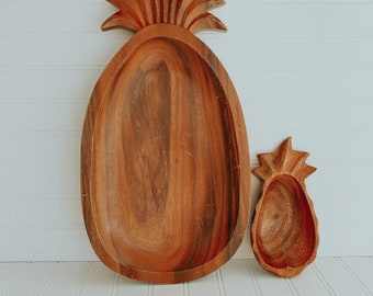 3 Compartment Pineapple Shaped Teak Serving DishWooden Serving DishAppetizer TrayCheese and Cracker TrayPineapple TrayPineapple Lover