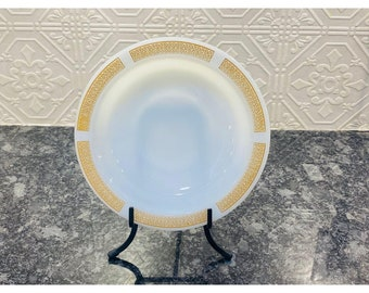 Anchor Hocking Milk Glass Rimmed Athena Pattern, Golden Yellow Border Trim Soup Bowl.