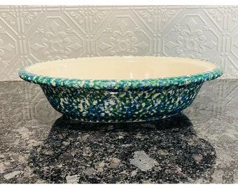Gerald E Henn Pottery Oval Double Sponged Blue Green Serving Bowl Vintage