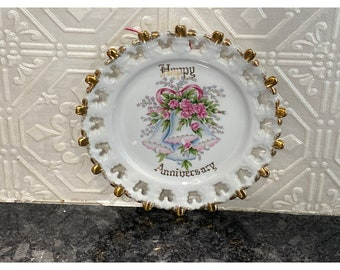 Vintage Happy Anniversary Decorative Plate Pierced Trim Gold Gilt Bells Pink Bow & Roses by Norcrest Fine China - P-40