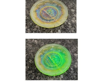 Billy Graham Yellow Uranium Glass Crusaders for Christ Wheaton Glass Collectible Wall Plate 1970's