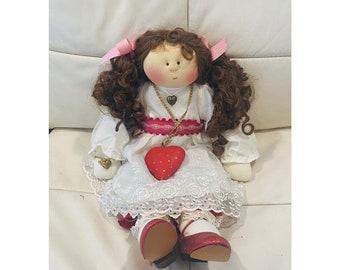 "Little Souls Francesca Doll 1997 Gretchen Wilson Reddish Brown Curly Pigtails Girl Doll 24"""
