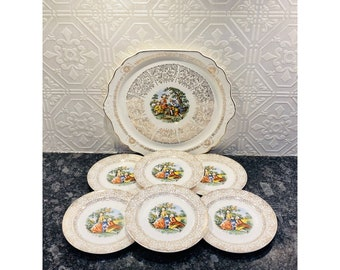 Victorian Courting Couple Platter & Side Plates Set of 7 Harker Early American Est 1840 and Cronin National Brothers