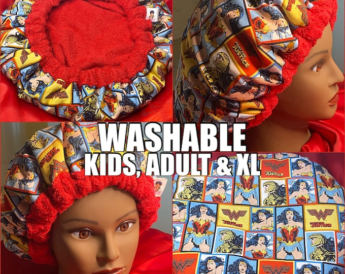 Featured listing image: Deep Conditioning Heat Cap, Curly Hair Microwaveable Heat Cap - Washable *made to order* -Wonder Woman Fight for Justice Kids & Adult Size