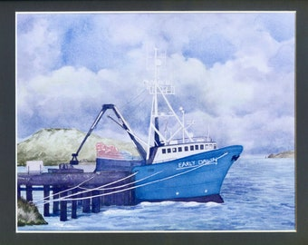 Crabbing Boat, Dutch Harbor, Alaskan Art, Kim McNett, Bering Sea, Alaskan Fishermen, Crab Fishing, Homer,