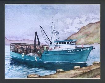 Crab Boat Print, Fishing Boat, Alaskan Art, Alaskan Fishing, Kim McNett, Kodiak, Bering Sea, Fishing Vessel, Fishing Boat, Nautical Art