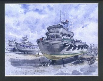 Alaska Fishing Boat, Alaskan Artist, Kim McNett, Watercolor Print, Kodiak, Bristol Bay, Sockeye Salmon, Gill-netting, Homer Alaska