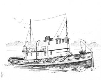 Tugboat Print, Kim McNett, Wooden Boat, Puget Sound, Historical Boat Art, Alaskan Artist, Mariner Print, Boat Art, Tugboat Art