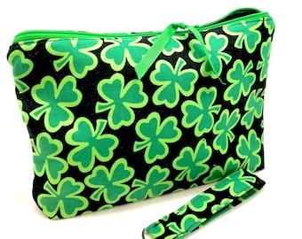 Women St Patricks Day Decorations Leaf Clover Leather Wallet Large Capacity Zipper Travel Wristlet Bags Clutch Cellphone Bag