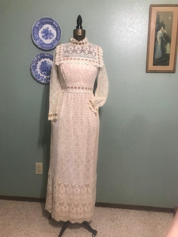 Vintage 1970's Ivory Crochet Wedding Boho Maxi Dre
