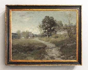 Country Landscape, Landscape Painting, Vintage Landscape, Home Decor, Antique Oil Painting, Vintage Art / P22