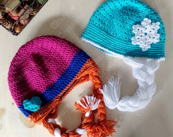 sold individually or as same size pairs Anna and Elsa inspired beanies