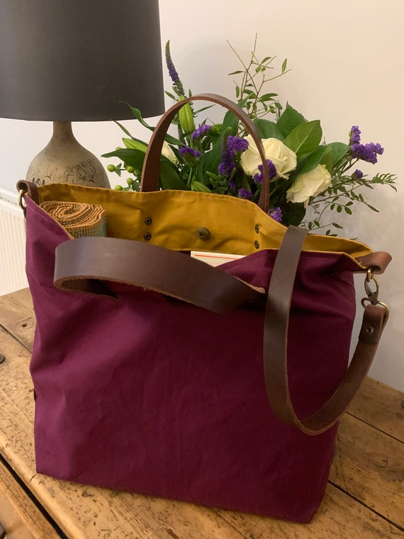 Burgundy Waxed Canvas Bag, Canvas Bag Shoulder Bag, Shopper, Handbag, Christmas gift,  Dry Oilskin, School Bag, Beach Bag