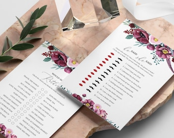 15 Editable Bridal Shower Games Floral Bridal Shower Game Bundle Navy Instant Download Burgundy Floral Elegance Bridal Shower Games