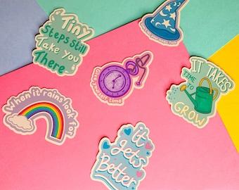 Positive Message Sticker - It Gets Better, Self love & mental health positivity glossy sticker,