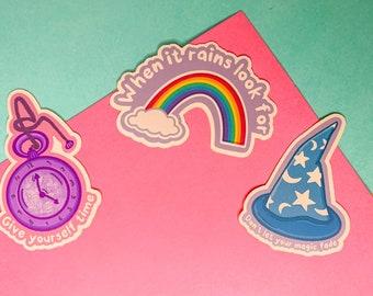 Positive Message Sticker - Look for Rainbows, Self love & mental health positivity glossy sticker, Rainbow Sticker