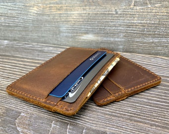 personalized leather  card holder gift for men and women Handmade Brown Leather minimalits wallet