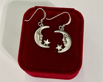 Vintage Tur\u00e9 Designs Sterling Silver Moon and Stars Clip On Earrings