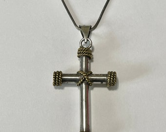 Mexican Cross Pendant Vintage Large Sterling Silver Cross Necklace Modern Taxco Mexico Minimalist Jewelry