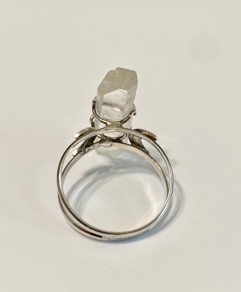 Statement crystal ring Crystal quartz ring Vintage Raw stone Sterling Silver ring Protection ring Sz 10.5 Celestial Raw crystal ring