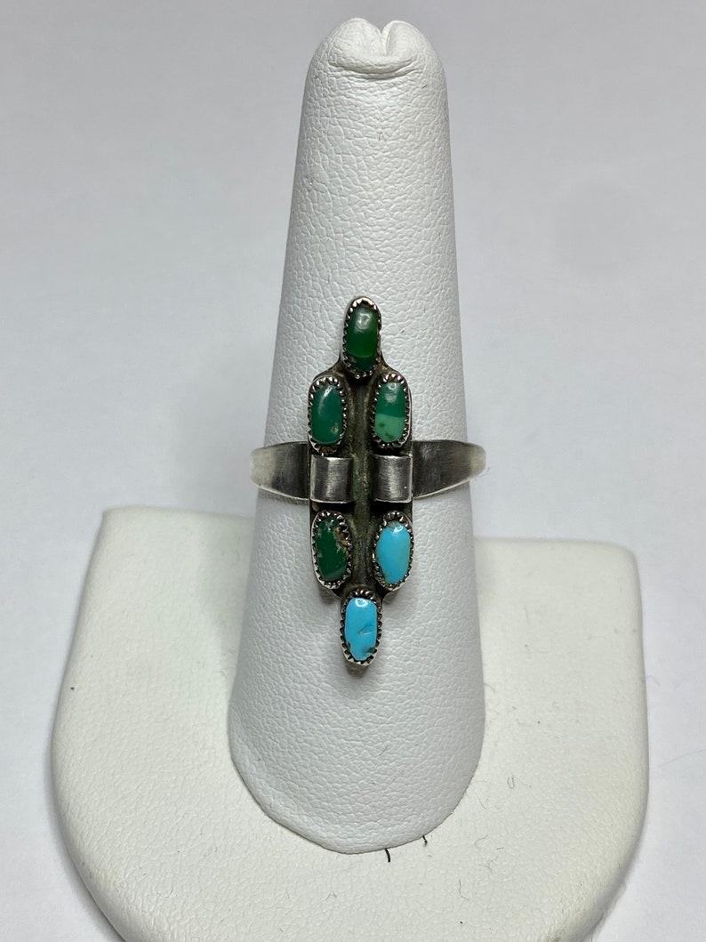 Zuni Ring Turquoise Ring Long Ring Southwestern Ring Sterling Silver Ring Needlepoint Ring Size 8 12 Needlepoint Turquoise