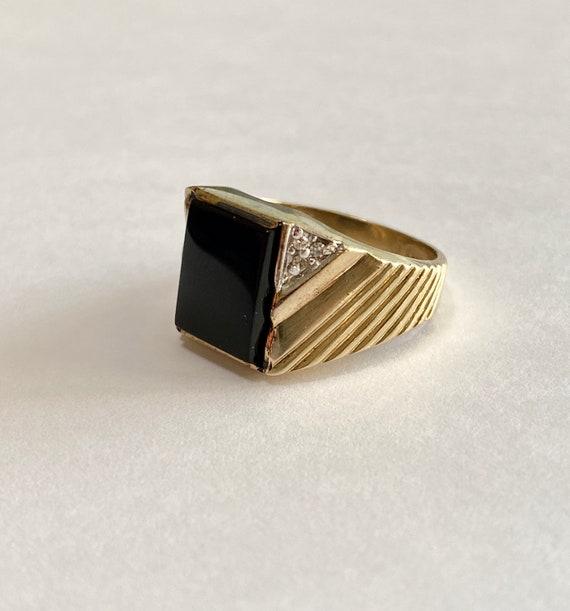 Vintage Onyx Ring Size 7 34 Oval Black Fine Statement Jewelry 10k Brushed Yellow Gold Genuine .015 CT Diamond Gem