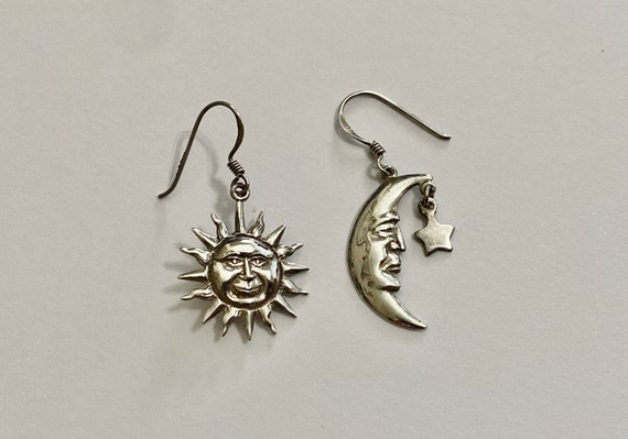 Crescent Moon and Star earrings-Vintage Sterling S