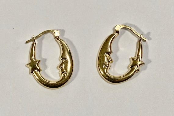 Crescent Moon and Star Hoop earrings-Vintage  Moon