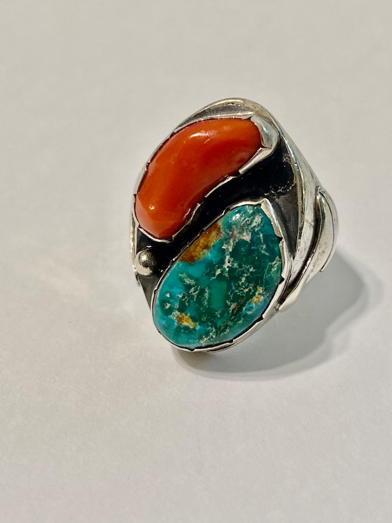 Vintage 900 Silver turquoise ring ,Southwest ring,