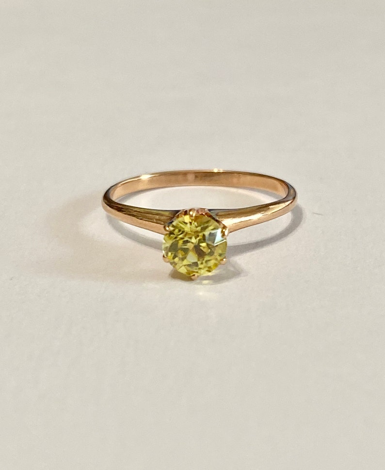 Yellow Sapphire Engagement Ring Vintage 10k Rosey Gold .46 image 0